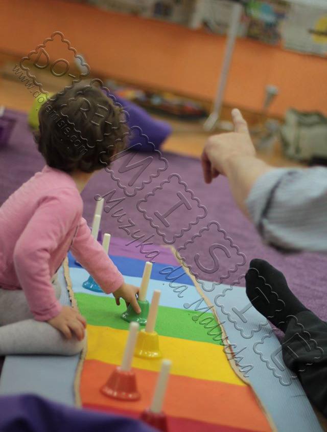 rozwojowe zajęcia dla maluchów świat na dziecięcej dłoni dziecko gra na kolorowych dzwonkach