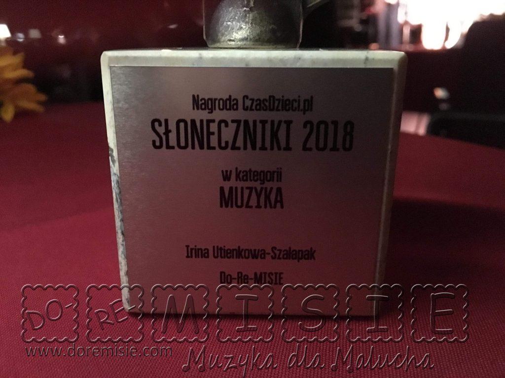 Słoneczniki 2018 główna nagroda w kategorii MUZYKA Do-Re-MISIE statuetka